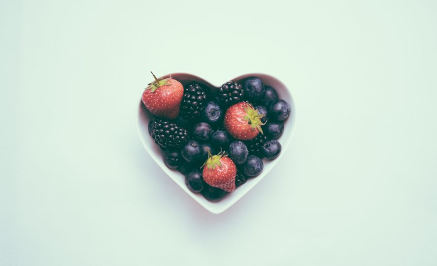fruits in a heart cup